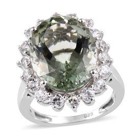 Prasiolite (Ovl 8.50 Ct), Natural Cambodian Zircon Ring in Platinum Overlay Sterling Silver 10.00 Ct