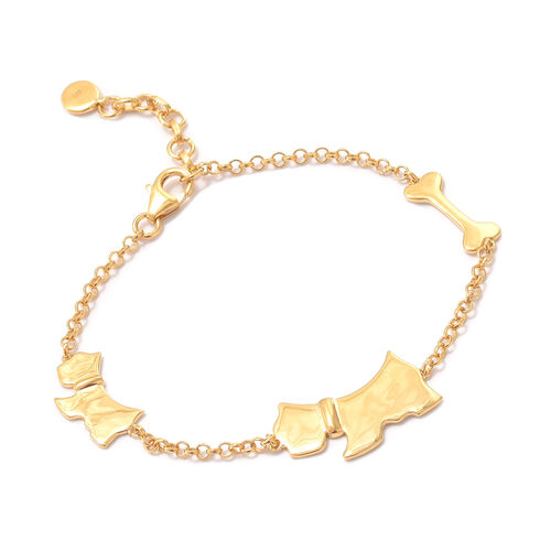 Scottish Terrier Silver Charm Bracelet in Gold Overlay (Size 7.5 plus 1 inch Extender), Silver wt 7.35 Gms.