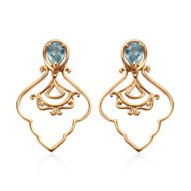 Ratanakiri Blue Zircon Earrings (with Push Back) in 14K Gold Overlay Sterling Silver 2.25 Ct.