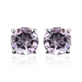 AA Pink Amethyst Solitaire Stud Earrings (with Push Back) in Platinum Overlay Sterling Silver 2.25 C