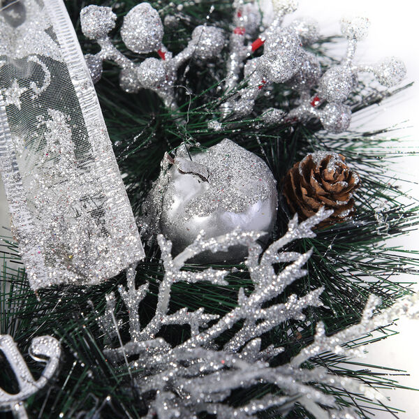 Wreath Embellished with Pine Cones, Silver Apple, Silver Berries, Bowknot, and Merry Christmas Letter Words (Size 15x15cm)