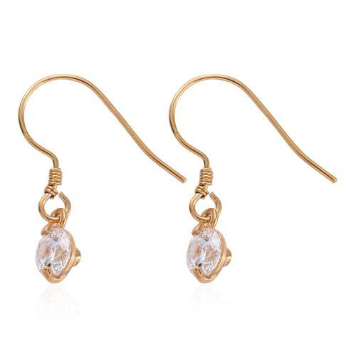 J Francis - 14K Gold Overlay Sterling Silver (Rnd) Hook Earrings Made with SWAROVSKI ZIRCONIA