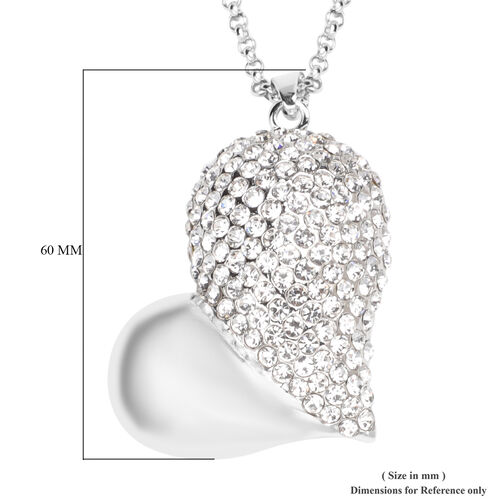 White Austrian Crystal Pendant With Chain (Size 29 with 2.5 inch Extender) in Silver Tone