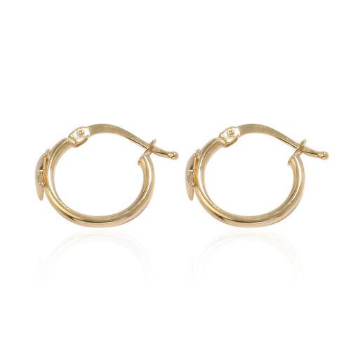 9K Yellow Gold Star Hoop Earrings