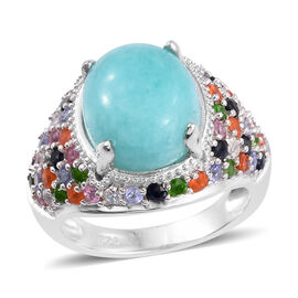 6.25 Ct Peruian Amazonite and Multi Gemstone Halo Ring in Platinum Plated Sterling Silver 6.19 Grams
