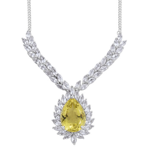Natural Green Gold Quartz (Pear 11.75 Ct), White Topaz Necklace (Size 18) in Platinum Overlay Sterli