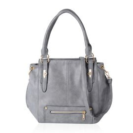 Super Soft Grey Colour Tote Bag with Multi Pocket and Removable Black Shoulder Starp (Size 45x31x12.