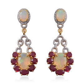 Designer Inspired-African Ruby (Ovl), Ethiopian Welo Opal and Natural Cambodian White Zircon Earring