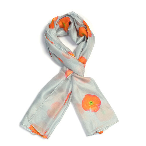 100% Mulberry Silk Orange Poppy Flower Pattern Grey Colour Scarf (Size 180X100 Cm)