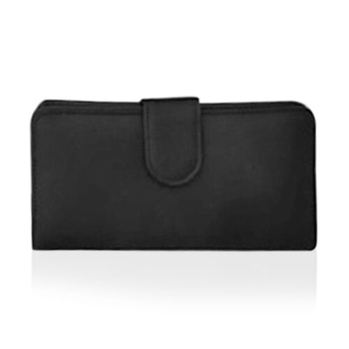 One Time Deal - Black Colour Multi Compartment Ladies Wallet (Size 18.5x9.5x3.5cm)