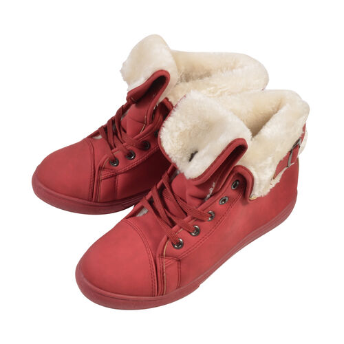 Womens Flat Faux Fur Lined Grip Sole Winter Ankle Boots (Size 4) - Red