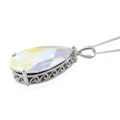 J Francis Crystal from Swarovski - AB Colour Crystal (Pear) Pendant with Chain (Size 30) in Platinum Overlay Sterling Silver, Silver wt 9.50 Gms.