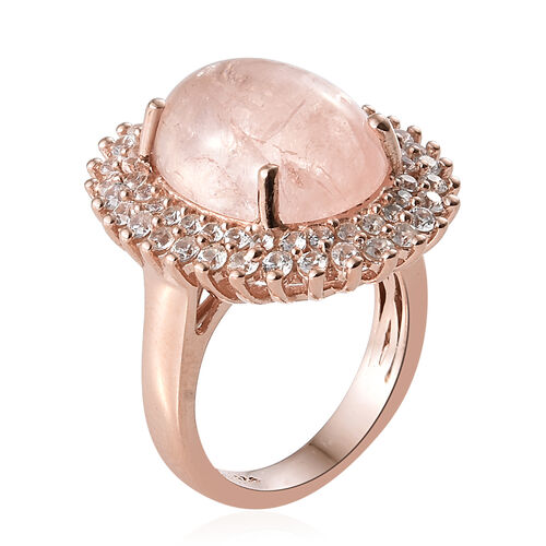Marropino Morganite (Ovl 10.00 Ct), Natural Cambodian Zircon Ring in Rose Gold Overlay Sterling Silver 11.500 Ct, Silver wt 6.19 Gms.
