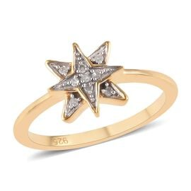 Diamond (Rnd) Starburst Ring in 14K Gold Overlay Sterling Silver 0.05 Ct.