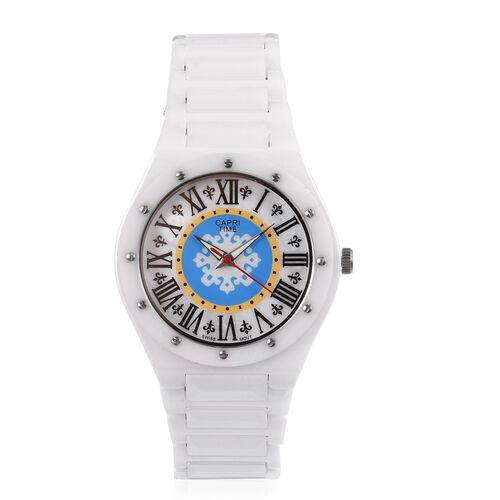 Limited Edition- GP CAPRI TIME Swiss Movement Fleur De Lis White MOP Black Colour Roman Number Dial Water Resistant Watch in Stainless Steel