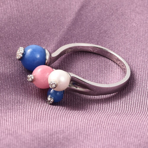 GP - Freshwater Pearl, Blue Jade and Multi Gemstone Flower Bud Open Adjustable Ring in Rhodium Overlay Sterling Silver 7.38 Ct.