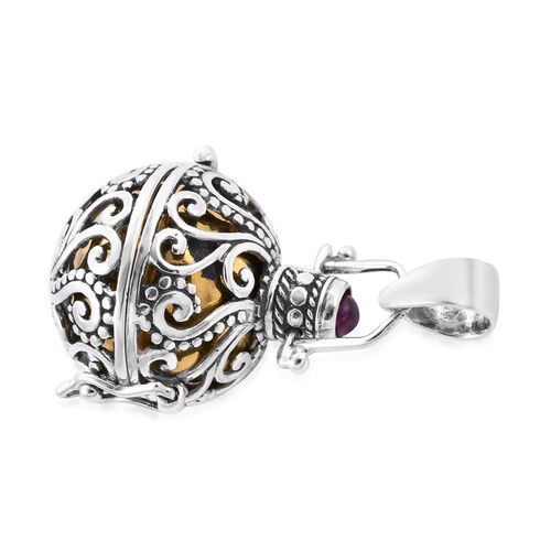 Royal Bali Collection - African Ruby Harmony Ball Pendant in Yellow Gold Overlay Sterling Silver, Silver wt. 9.10 Gms