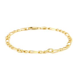 Italian Made - 9K Yellow Gold Figaro Bracelet, 4.00 gms (Size 7.5)