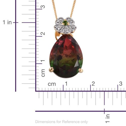 Bi-Color Tourmaline Quartz (Pear 9.45 Ct), Russian Diopside and Diamond Pendant With Chain in 14K Gold Overlay Sterling Silver 9.500 Ct.