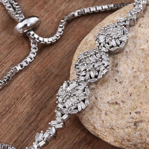 New Concept - Designer Inspired - Firecracker Diamond (Bgt) Bolo Bracelet (Size 6.5 to 8) in Platinum Overlay Sterling Silver 0.760 Ct. Silver wt 6.00 Gms.