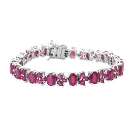 GP African Ruby (Ovl), Blue Sapphire Bracelet (Size 7.5) in Platinum Overlay Sterling Silver 26.500