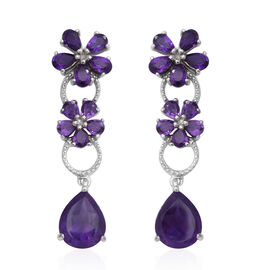 Zambian Amethyst (Pear) Floral Earrings (with Push Back) in Rhodium Overlay Sterling Silver 7.50 Ct.