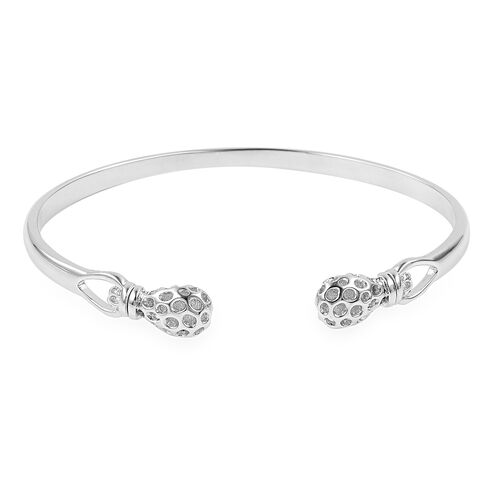 RACHEL GALLEY Rhodium Plated Sterling Silver Mystic Bangle (Size 7.25), Silver wt 12.86 Gms.