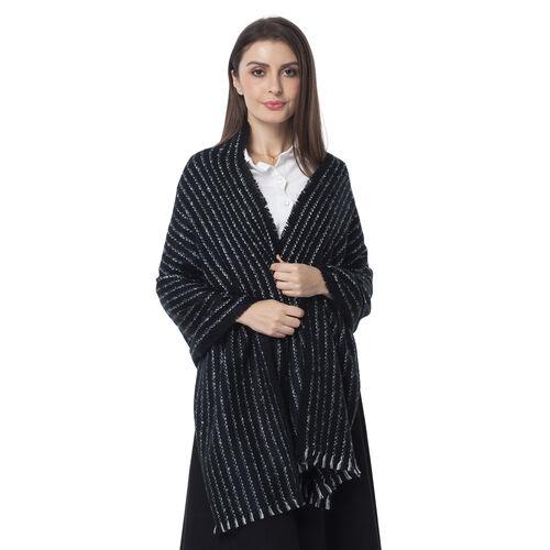 Designer Inspired- Black Colour Stripe Pattern Blanket Shawl (Size 180x65 Cm)