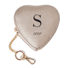 100% Genuine Leather S Initial Heart Shape Coin Card / Purse with Key Chain in Gold Colour (Size 12x