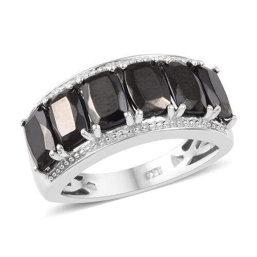 2.50 Ct Elite Shungite Band Ring in Platinum Plated Sterling Silver