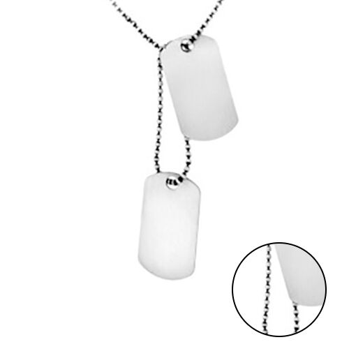 Sterling Silver Double Tag Pendant with Chain (Size 20), Silver wt 18.60 Gms