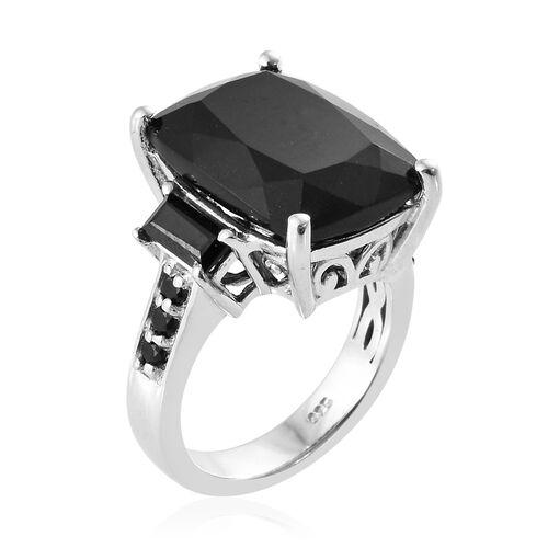 Black Tourmaline (Cush 11.75 Ct), Boi Ploi Black Spinel Ring in Platinum Overlay Sterling Silver 13.000 Ct