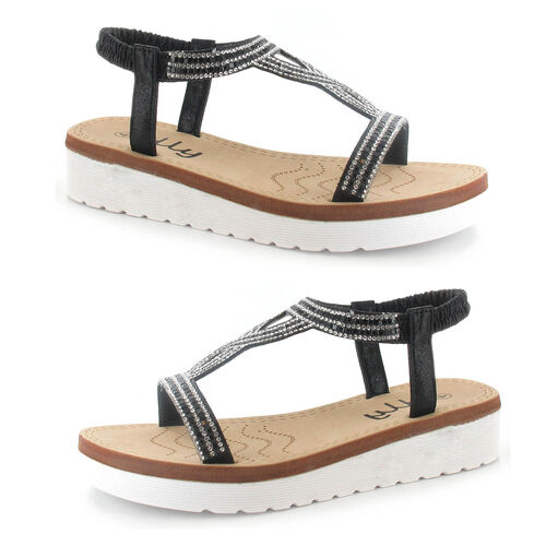 OLLY Belle Toe Post Low Wedge Sandal (Size 6) - Black