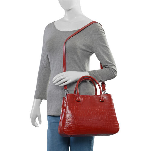 Premium Collection -100% Genuine Leather Red Colour Croc Embossed Satchel Bag with Removable Shoulder Strap (Size 34.5x25x10.5 Cm)