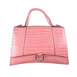 19V69 ITALIA by Alessandro Versace Crocodile Pattern Satchel Bag with Detachable Stap and Metallic Clasp Closure (Size 35x23.5x13Cm) - Pink