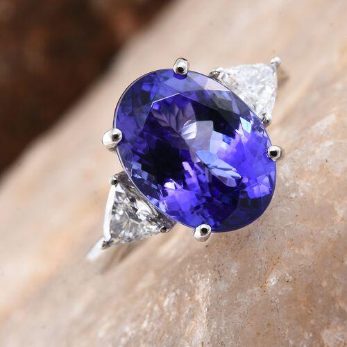 RHAPSODY 950 Platinum AAAA Tanzanite (Ovl 7.87 Ct), Diamond (VS/E-F) Ring 8.400 Ct.
