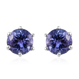 1.75 Ct Tanzanite Solitaire Stud Earrings in 9K White Gold with Push Back