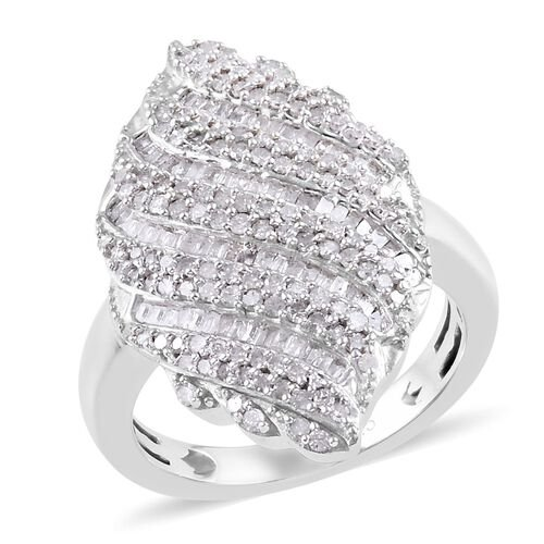 1 Carat Diamond Cluster Ring in Platinum Plated Sterling Silver 5.29 Grams