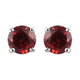 Mozambique Garnet Stud Earrings in Platinum Overlay Sterling Silver  0.84 Ct.