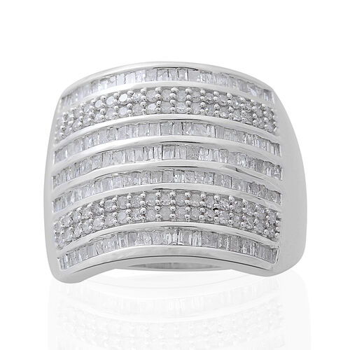 1.50 Ct Diamond Cluster Ring in Platinum Plated Silver 7.52 Grams
