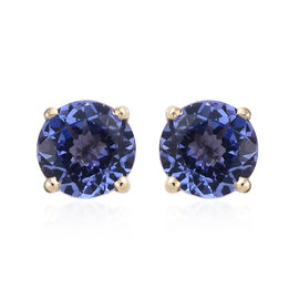 9K Yellow Gold AA Tanzanite (Rnd) Stud Earrings (With Push Back)  1.500  Ct.