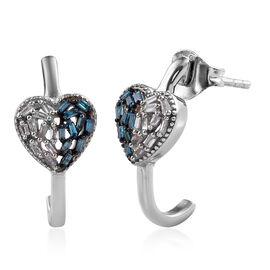 Blue and White Diamond (Bgt) J-Hoop Heart Earrings (with Push Back) in Platinum Overlay Sterling Sil