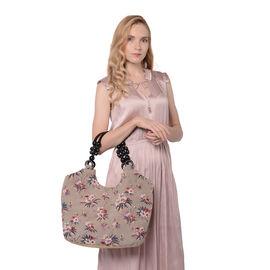 Blooming Flower Pattern Jute Handbag (38x11x29cm) - Khaki