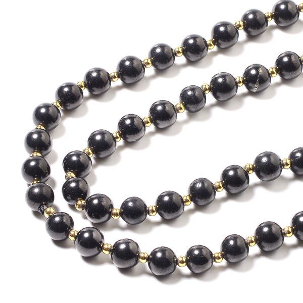 Shungite (Rnd) Beads Necklace (Size 30) in Yellow Gold Overlay Sterling Silver 243.50 Ct.