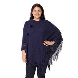 Knit Poncho with Pom Pom and Tassel (Size 90x75 Cm) - Navy