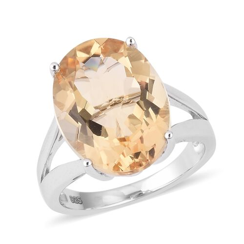 9.25 Ct Citrine Solitaire Ring in Sterling Silver 4.8 Grams