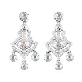 Mercury Mystic Topaz Chandelier Earrings in Platinum Overlay Sterling Silver 2.90 Ct, Silver wt 8.62