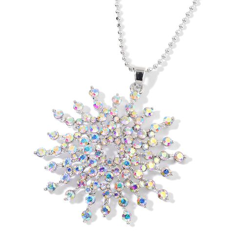 Magic Colour Austrian Crystal (Rnd) Sun Burst Pendant With Chain in Silver Plated