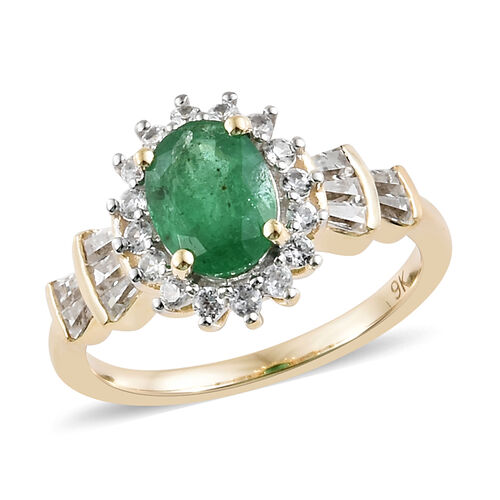 2 Carat AA Zambian Emerald and Cambodian Zircon Ballerina Ring in 9K Gold 2.3 Grams