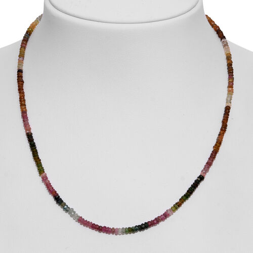 Multi-Tourmaline Beads Necklace (Size 18 with 2 inch Extender) in Rhodium Plated Sterling Silver 60.000 Ct.